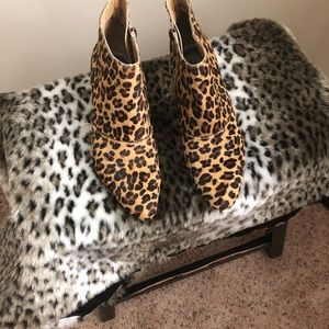 Animal hair bootie with zipper